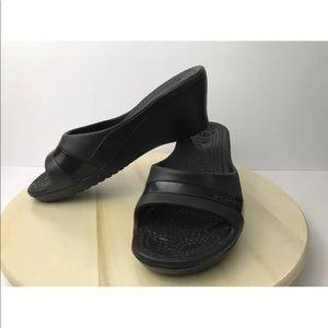 Crocs Wedge Heel Slip On Black Sassari US 11